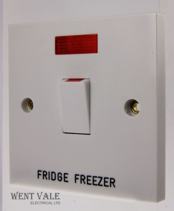 GET Exclusive Moulded - GSWDPN20A FF - 20a D/Pole Switch + Neon Engraved Fridge Freezer